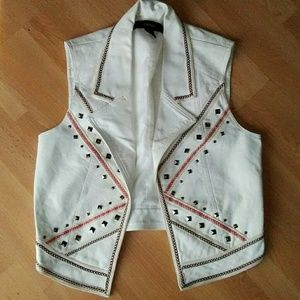 Forever 21 White Faux Leather Vest